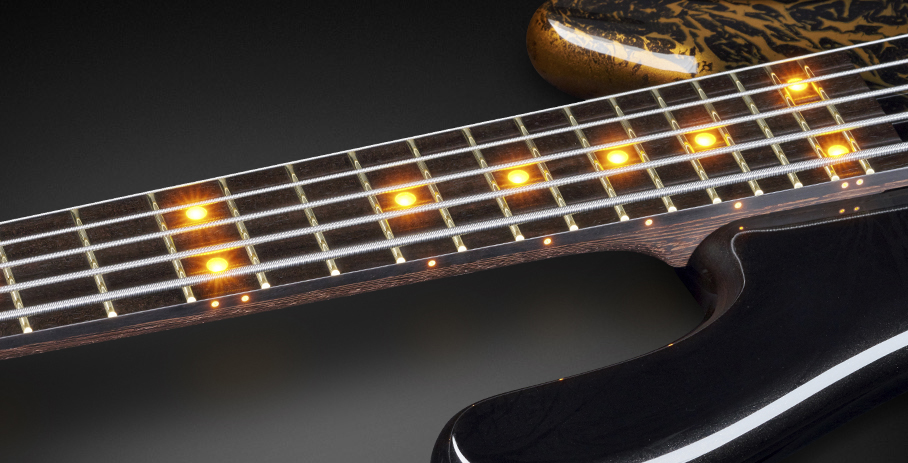 Streamer LX #17-3732 - Yellow Front and Side LEDs and Tigerstripe Ebony Fingerboard