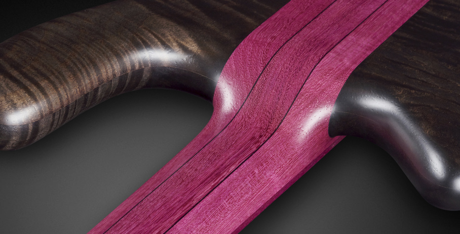 Streamer Stage I #17-3567 - 3 Layer Neck Lamination with Purple Heart and Ekanga Veneer Stripes
