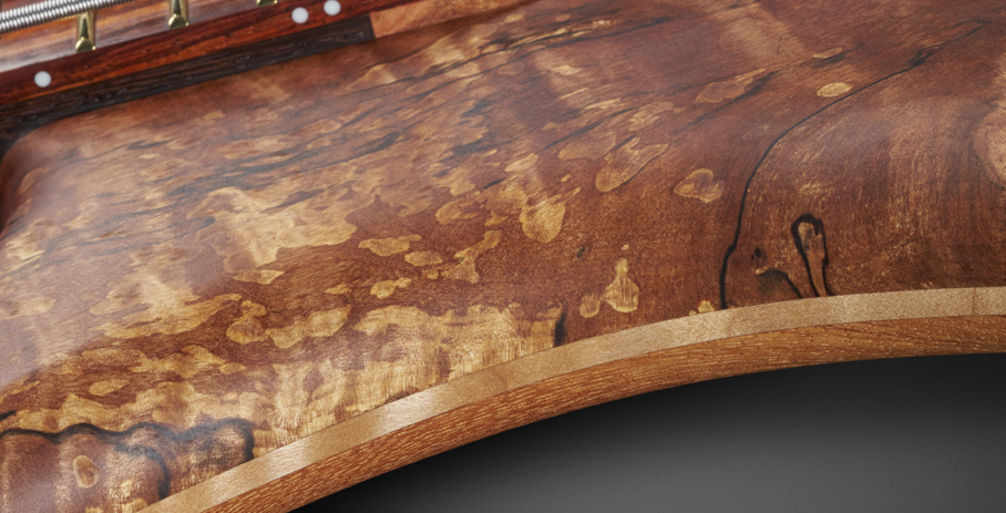 Streamer Stage II #17-3615 - 3 Layer Body with Myrtle Burl Top, AAA Flamed Maple Middle, and Afzelia Back